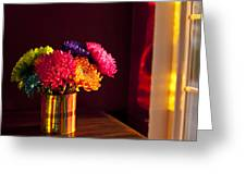 Multicolored Chrysanthemums In Paint Can Greeting Card