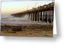 Ocean Wave Storm Pier Greeting Card