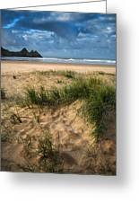 Stunning Sunrise Landscape Over Three Cliffs Bay In Wales Greeting Card