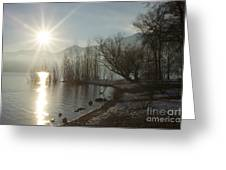 Sunshine Over An Alpine Lake Greeting Card