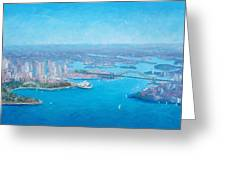 Sydney Harbour And The Opera House Aerial View  Greeting Card