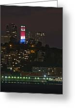 911 Commemorative Lighting On Coit Tower Greeting Card