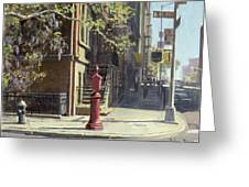 91st Street At Lexington Avenue Oil On Canvas Greeting Card