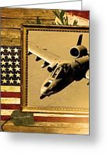 A-10 Warthog Rustic Flag Greeting Card