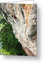 A Athletic Man Rock Climbing High Greeting Card