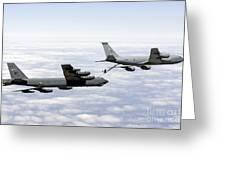 A B-52h Stratofortress Refuels Greeting Card by Erik Roelofs