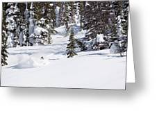 A Backcountry Skier A Turn Near Ymir Greeting Card