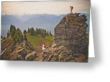 A Backpacker Balances On The Blocky Greeting Card