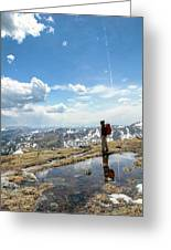 A Backpacker Stands Atop A Mountain Greeting Card