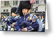 A Bagpiper Marching In The 2009 New York St. Patrick Day Parade Greeting Card