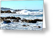 Seascape And Sea Gulls Greeting Card