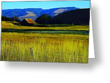 A Barn And Field In The Morning Greeting Card