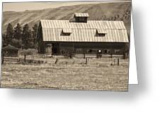 A Barn Near Ellensburg Wa Bw Greeting Card