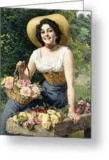 A Beauty Holding A Basket Of Roses Greeting Card