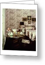 A Bedroom With Matching Wallpaper Greeting Card