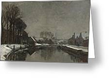A Belgian Town In Winter Greeting Card