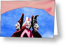 A Bevy Of Jesters Greeting Card