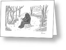 A Big Foot Type Creature Reads A Valentine Card Greeting Card