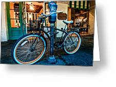 A Bike In Front Of Cafe Du Monde In New Orleans Greeting Card