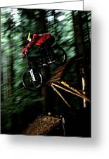 A Biker Rides His Mountain Bike Greeting Card