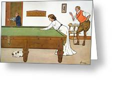 A Billiards Match Greeting Card by Lance Thackeray