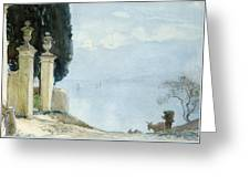 A Blue Day On Como Greeting Card
