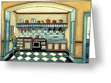 A Blue Kitchen With A Tiled Floor Greeting Card