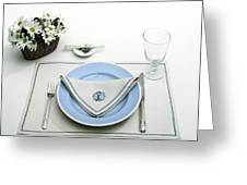 A Blue Table Setting Greeting Card