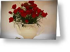 A Bouquet Of Red Rose Tea Greeting Card