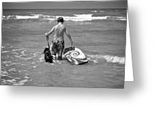 A Boy And His Dog Go Surfing Greeting Card