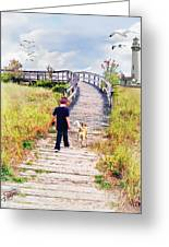 A Boy And His Dog Greeting Card