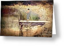 A Boy Fishing Greeting Card