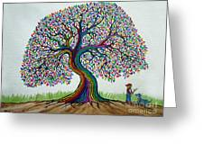 A Boy His Dog And Rainbow Tree Dreams Greeting Card
