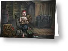 A Boy In The Attic With Old Relics Greeting Card