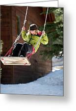 A Boy Plays Outside In Lake Tahoe Greeting Card