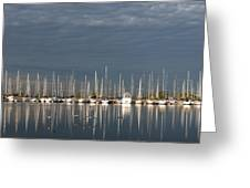 A Break In The Clouds - White Yachts Gray Sky Greeting Card