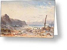 A Breezy Day With Fisherfolk On The Foreshore Greeting Card