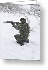 A Bulgarian Soldier Aims Down The Sight Greeting Card