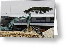 A Bulldozer Moving Dug Out Concrete And Fresh Earth Below The Concrete Greeting Card