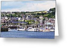 A Busy Harbour And Waterfrontkinsale Greeting Card