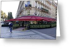 A Cafe On The Champs Elysees In Paris France Greeting Card