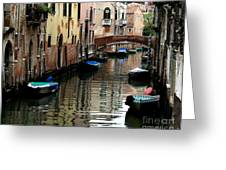 Calm Canal In Venice  Greeting Card