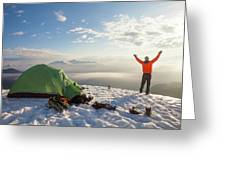 A Camper Lifts His Hand In The Air Greeting Card
