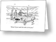 A Car Salesman Shows A Couple A Car Monster Greeting Card