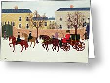 A Carriage Escorted By Police Greeting Card