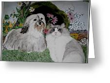 A Cat And A Dog Greeting Card