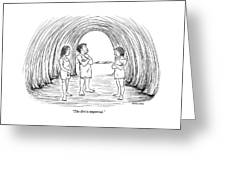 A Cave Father And Mother Talk To Their Daughter Greeting Card