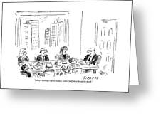 A Ceo Talks To His Board During A Board Meeting Greeting Card