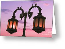 A Characteristic Lamp Post In The City Of Dahab At Dusk Greeting Card