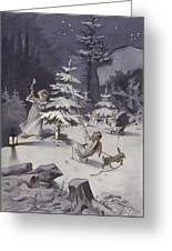 A Cherub Wields An Axe As They Chop Down A Christmas Tree Greeting Card